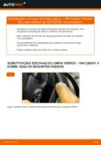 Instalação Escovas do limpa parabrisas VW CADDY III Estate (2KB, 2KJ, 2CB, 2CJ) - tutorial passo-a-passo