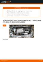 Como mudar óleo do motor e filtro em VW Touran 1T3 - guia de substituição