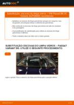 Como mudar escovas do limpa vidros da parte dianteira em VW Passat 3C B6 Variant - guia de substituição