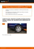 Como mudar tirante da barra estabilizadora da parte traseira em VW Passat 3C B6 Variant - guia de substituição