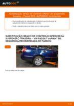 Como mudar braço de controlo inferior da suspensão traseira em VW Passat 3C B6 Variant - guia de substituição
