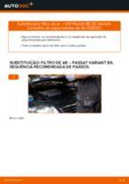 Como mudar filtro de ar em VW Passat 3C B6 Variant - guia de substituição