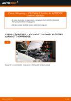 Hátsó féknyereg-csere VW Caddy 3 Kombi gépkocsin – Útmutató