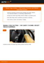 VW CADDY Stikla tīrītāja slotiņa nomaiņa: rokasgrāmata