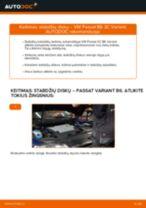 Kaip pakeisti ir sureguliuoti Stabdžių trinkelių komplektas VW PASSAT: pdf pamokomis