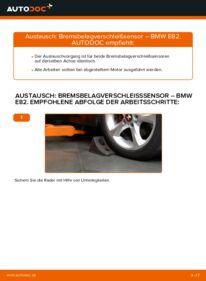 Wie der Wechsel durchführt wird: Verschleißanzeige Bremsbeläge 120d 2.0 BMW E82 tauschen