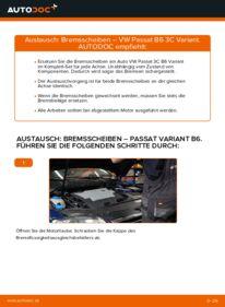 Wie der Wechsel durchführt wird: Bremsscheiben 2.0 TDI Passat B6 Variant tauschen