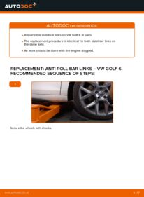 How to carry out replacement: Anti Roll Bar Links on 1.6 TDI Golf Mk6