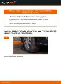 Kā veikt nomaiņu: VW TOURAN Savienotājstienis