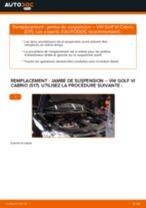 Comment changer Jambe de force arrière + avant VW GOLF VI Convertible (517) - manuel en ligne