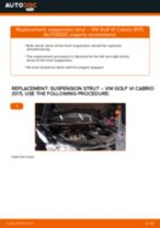 How to change Struts and shocks rear and front on VW GOLF VI Convertible (517) - manual online