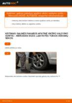 Kaip pakeisti Mercedes W203 galinės pakabos apatinė vikšro valdymo svirtis - keitimo instrukcija