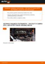 Kaip pakeisti VW Golf VI Cabrio (517) pakabos statramstis: priekis - keitimo instrukcija