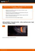 Changing Intercooler OPEL ZAFIRA: workshop manual