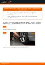 DIY AUDI change Wishbone left and right - online manual pdf