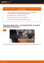 Vgraditi Metlice brisalcev VW TRANSPORTER IV Bus (70XB, 70XC, 7DB, 7DW) - priročniki po korakih