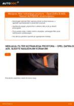 Kako zamenjati avtodel filter notranjega prostora na avtu Opel Zafira B A05 – vodnik menjave