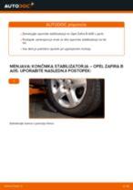 Kako zamenjati avtodel končnik stabilizatorja spredaj na avtu Opel Zafira B A05 – vodnik menjave