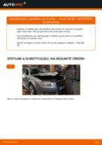 Como mudar pastilhas de travão da parte traseira em Audi A4 B7 - guia de substituição