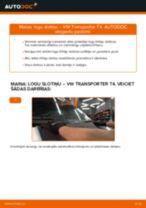 Mainīties VW TRANSPORTER IV Bus (70XB, 70XC, 7DB, 7DW) Stikla tīrītāja slotiņa - soli-pa-solim pamācības PDF