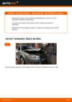 Kā nomainīt un noregulēt Bremžu uzlikas AUDI A4: pdf ceļvedis