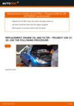 How to change engine oil and filter on Peugeot 206 CC 2D – replacement guide