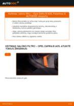Kaip pakeisti Opel Zafira B A05 salono filtro - keitimo instrukcija