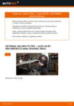 Kaip pakeisti ir sureguliuoti Oro filtras, keleivio vieta AUDI A4: pdf pamokomis