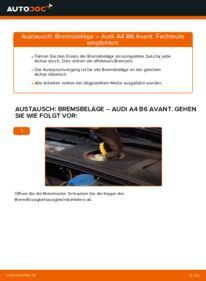 Wie der Wechsel durchführt wird: Bremsbeläge 1.9 TDI Audi A4 B6 Avant tauschen