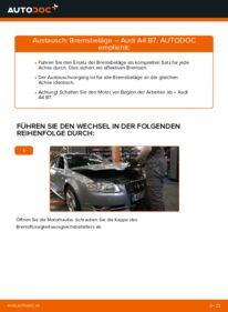Wie der Wechsel durchführt wird: Bremsbeläge 2.0 TDI 16V Audi A4 B7 Limousine tauschen