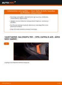 Kuidas välja vahetamist läbi viia: 1.9 CDTI (M75) Opel Zafira B Salongifilter