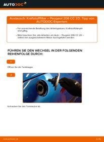 Wie der Wechsel durchführt wird: Kraftstofffilter 1.6 16V Peugeot 206 cc 2d tauschen