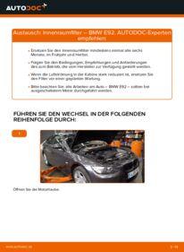 Wie der Wechsel durchführt wird: Innenraumfilter 335i 3.0 BMW E92 tauschen