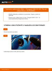 Ako vykonať výmenu: Palivový filter na 1.6 16V Peugeot 206 cc 2d