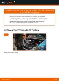 Kaip atlikti keitimą: 1.3 Hybrid (ZE28, ZE2) Honda Insight ZE2/ZE3 Alyvos filtras