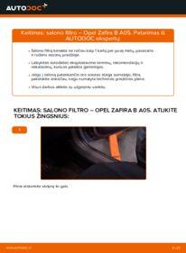 Kaip atlikti keitimą: 1.9 CDTI (M75) Opel Zafira B Oro filtras, keleivio vieta