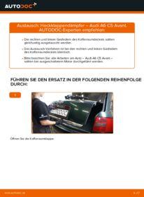 Wie der Wechsel durchführt wird: Heckklappendämpfer 2.5 TDI quattro Audi A6 C5 Avant tauschen