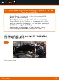 Wie der Wechsel durchführt wird: Innenraumfilter 2.5 TDI quattro Audi A6 C5 Avant tauschen