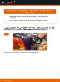 Wie der Wechsel durchführt wird: Kraftstofffilter 1.6 16V (F08, F48) Opel Astra g f48 tauschen