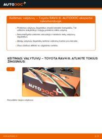 Kaip atlikti keitimą: 2.2 D 4WD (ALA30_) Toyota RAV4 III Valytuvo gumelė