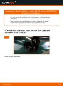 Wie der Wechsel durchführt wird: Kraftstofffilter 2.5 TDI quattro Audi A6 C5 Avant tauschen