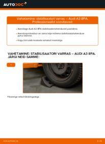 Kuidas välja vahetamist läbi viia: 2.0 TDI 16V Audi A3 8pa Stabilisaatori otsavarras