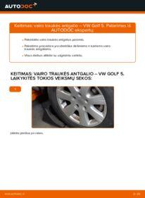 Kaip atlikti keitimą: 1.9 TDI Golf 5 Skersinės vairo trauklės galas