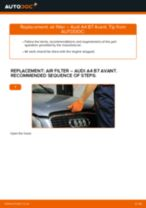 Replacing Air Filter AUDI A4: free pdf