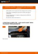 Skifte Kupefilter AUDI A4: verkstedhåndbok