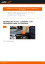 AUDI A4 Variklio oro filtras keitimas: nemokamas pdf