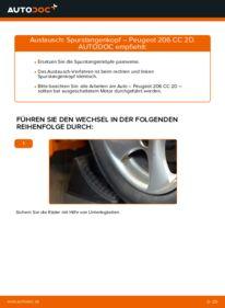 Wie der Wechsel durchführt wird: Spurstangenkopf 1.6 16V Peugeot 206 cc 2d tauschen