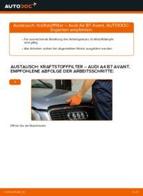 Wie der Wechsel durchführt wird: Kraftstofffilter 2.0 TDI Audi A4 B7 Avant tauschen