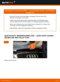 Wie der Wechsel durchführt wird: Innenraumfilter 2.0 TDI Audi A4 B7 Avant tauschen