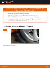 Kaip atlikti keitimą: 1.6 16V Peugeot 206 cc 2d Skersinės vairo trauklės galas